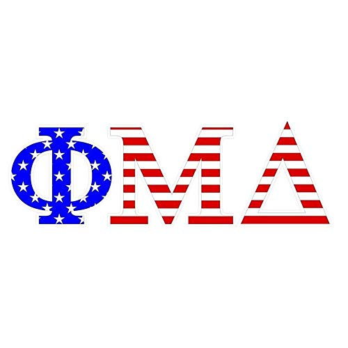 Phi Mu Delta Giant 4 Inch American Flag Greek Letter Sticker Royal Blue/Red/White