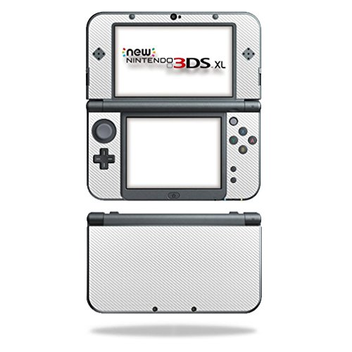 MightySkins Protective Vinyl Skin Decal for New Nintendo 3DS XL (2015) cover wrap sticker skins White Carbon Fiber (New 3ds Xl Carbon Fiber compare prices)
