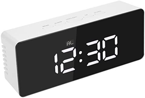 Mirror Alarm Clock, Liu Nian Creative Modern TS-S69 USB Digital LED Alarm Watch with Clock,Temperature, Snooze, 24 or 12 Hour Display for Kids Girls Adults White