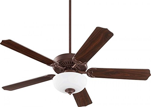 Quorum 77525-9044 Protruding Mount, 5 toasted sienna/Walnut Blades Ceiling fan with 67 watts light, Toasted Sienna