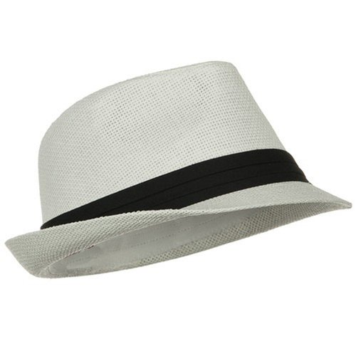 Short Brim Paper Fedora, White with Black Band Small/Medium by (White Hat With Black Band)