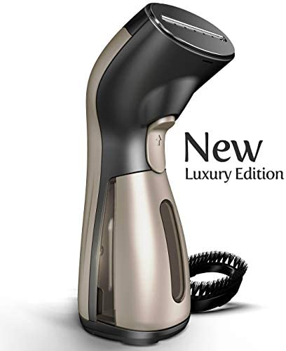 iSteam Steamer for Clothes [Luxury Edition] Powerful Dry Steam. Multi-Task: Fabric Wrinkle Remover- Clean- Refresh. Handheld Clothing Accessory. for All Kind of Garments. Home/Travel [MS208 Gold] 1