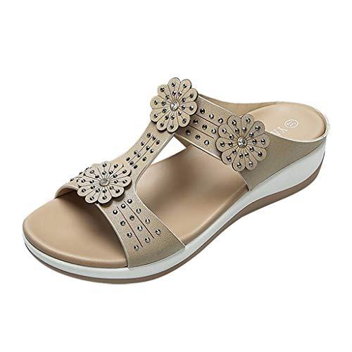 - Sandals for Women ❤ Boho Rhinestone Platform Sandles Comfy Flip Flops Slip On Open Toe Slipper Wide Width Summer Sameno Khaki
