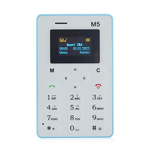 Crony Aeku M5 Mini Card Cell Phones GSM Ultra Thin 320mah for Student with Bluetooth (Blue)