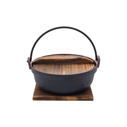 ENAMEL COATED CAST IRON POT WITH WOODEN LID AND BASE