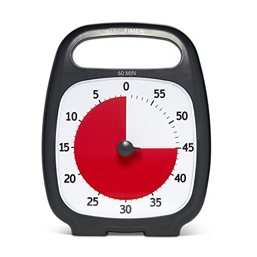 Time Timer PLUS 60 Minute Visual Analog Timer (Charcoal); Optional Alert (Volume-Control Dial); Silent Operation (No Ticking); Time Management Tool