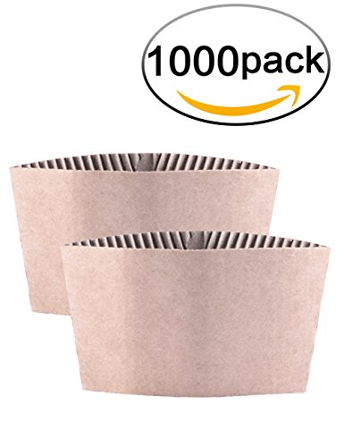 Kindpack Protective Corrugated Coffee Cup Sleeves For 12oz 16 oz 20 Ounce,1000 (Coffee Sleeves)