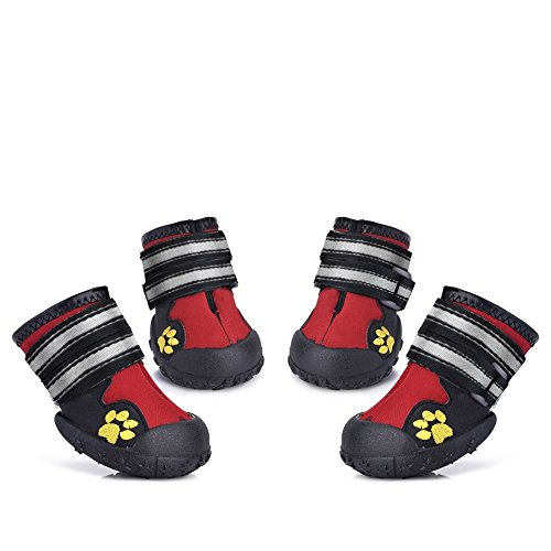 Waterproof Pet Boots for Medium to Large Dogs Labrador Husky Shoes 4 Pcs (Red, Size 8)