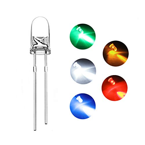 - DiCUNO 1000pcs 3mm Light Emitting Diode LED Lamp Assorted Kit White Red Yellow Green Blue Lights Round Head and Clear Len Bulbs (5 Colors x 200pcs)