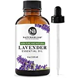 NaturoBliss Lavender Essential Oil, 100% Pure Therapeutic Grade, Premium Quality Lavender Oil, 4 fl. Oz - Perfect for Aromath