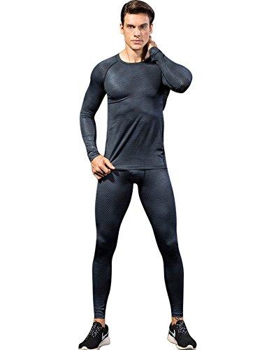 Ensemble Survêtement Serré Sanang Sportswear Noir T Hommes À Gym Legging Rapide Long shirt Costume Séchage Fitness Courir Compression Sport wwfIz