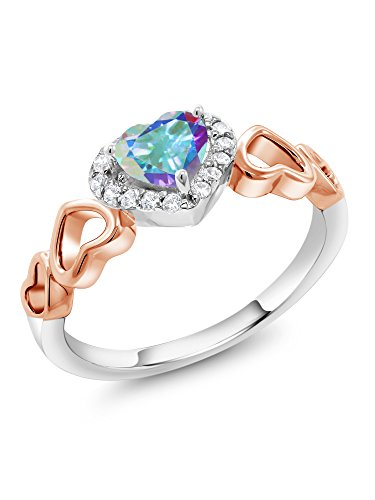 0.72 Ct Heart Shape Mercury Mist Mystic Topaz 925 Sterling Silver and 10K Rose Gold Ring (Size ()