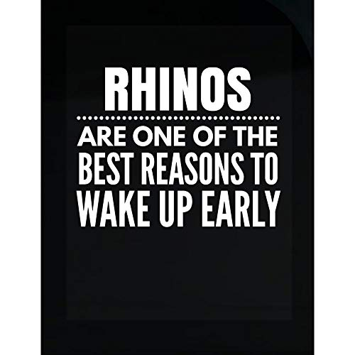 Rhinos Gift Idea - Reasons to Wake Up Early - Africa Present - Horn - White Rhinoceros Design - Transparent Sticker ()