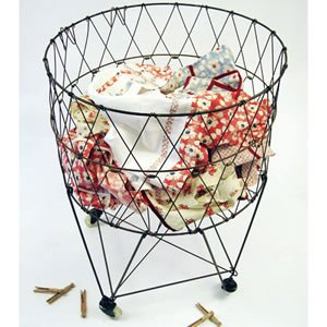 Moda Home Vintage Reproduction Collapsible Rolling Metal Laundry Basket