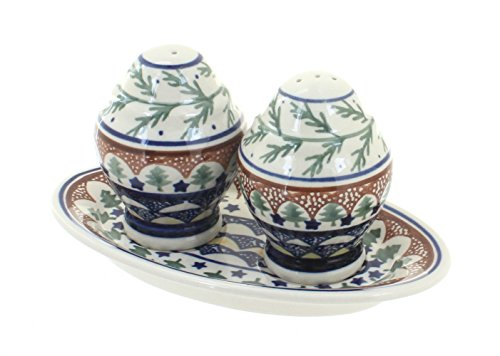 (Polish Pottery Evergreen Salt & Pepper Shakers with Plate)