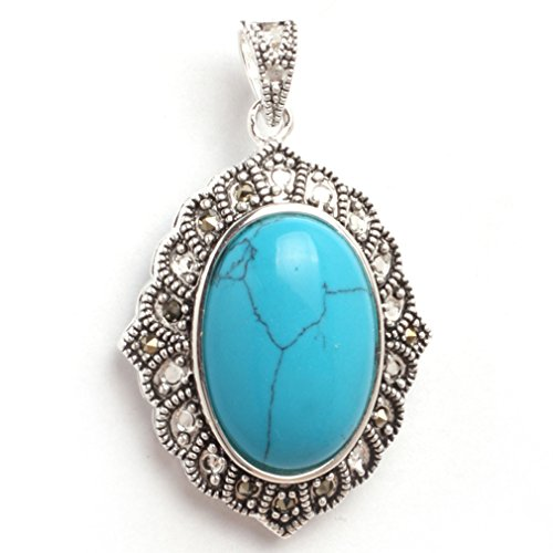 Cat Turquoise Pendant - 26x42mm Oval Dyed Blue Turquoise Beads Marcasite Tibetan Silver Pendant