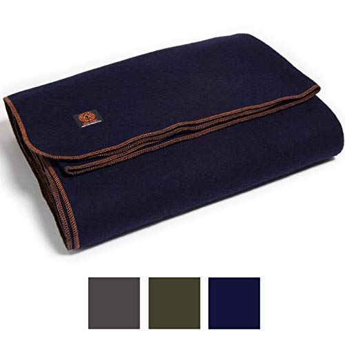 Arcturus Military Wool Blanket - 4.5 lbs, Warm, Heavy, Washable, Large 64' x 88' - Great for Camping, Outdoors, Survival & Emergency Kits (Navy Blue)