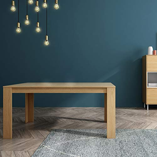 Mc Haus TROTTER - Mesa Comedor Madera Natural salon, Mesa cocina oficina de Diseno Rectangular con patas de madera 160x90x75cm