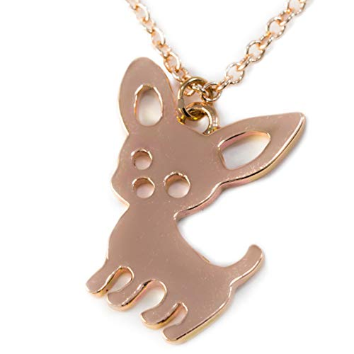 FTA Chihuahua Dog Charm Necklace: Gift Ready Packaged in Black Velvet Pouch (Rose Gold)
