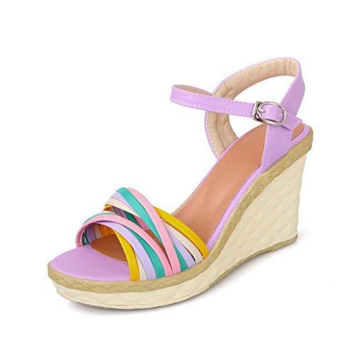 AllhqFashion Womens High-Heels Soft Material Assorted Color Buckle Open Toe Wedges-Sandals Purple kHtzH7