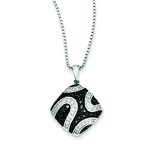 Argent sterling diamant pendentif carré brut Noir