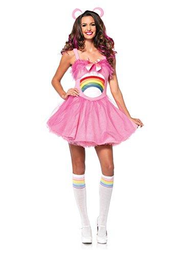 Leg Avenue Women's Care Bears 2 Piece Cheer Bear Costume, Light Pink, Small/Medium
