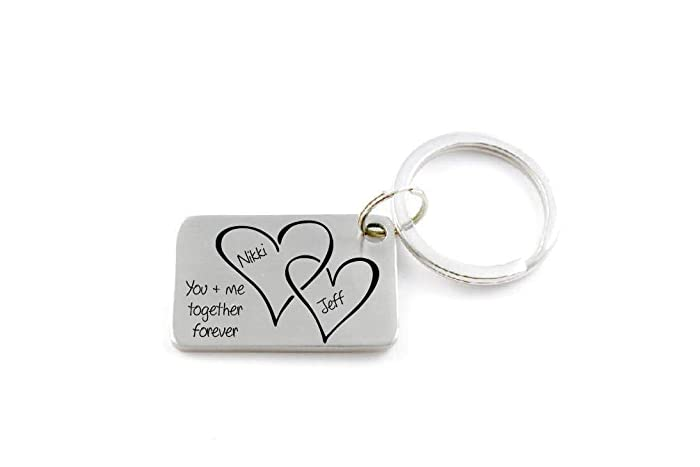 Unique Personalized Couples Keychain - You and Me Together Forever