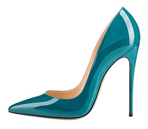 scuro Pumps Donna da Verde col ELASHE Scarpe Classiche Heel Tacco Scarpe Scarpe High 12CM col Tacco qZwSxEH5z