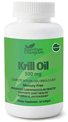 Krill Oil 500 mg x 60 Softgels with Omega 3 (EPA, DHA), Omega 6 and 9 Essential Fatty Acids, Promotes Cardiovascular Health, Supports Joint Health, Powerful Antioxidant