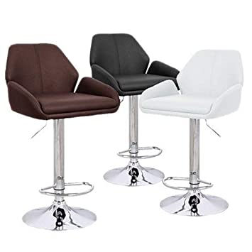 Set of 2 Tesla Contemporary Leather Adjustable Barstool – Espresso
