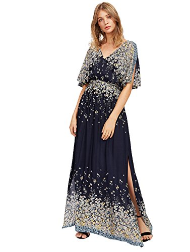 Milumia Women's Boho Split Tie-Waist Vintage Print Maxi Dress (X-Large, Black-5)
