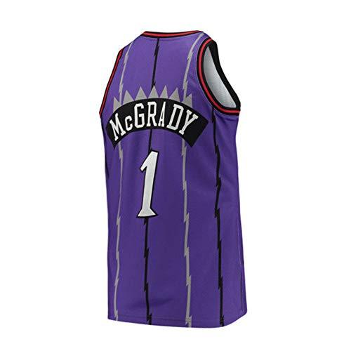(Mens McGrady Jersey #1 Retro Tracy Toronto Adult Basketball Sizes Purple (Purple,)