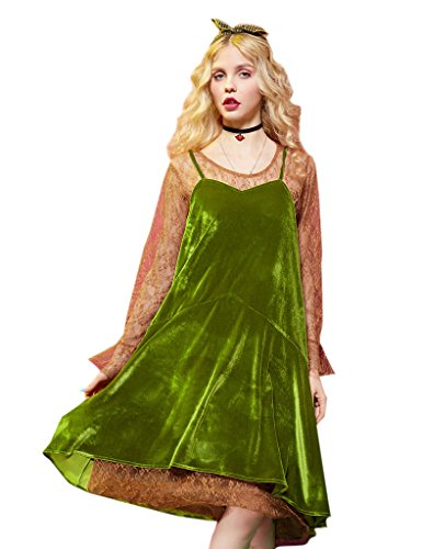 [Elf Sack Womens Winter Spaghetti Velvet&Lace Dress Green X-Large] (Elf Outfit For Women)