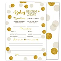 Gooji Baby Shower Prediction and Advice Card Games (50-Pack) Gold Themed Play Charts | High-Quality Cardstock, Rich Colors and Graphics, Faux Gold | Fun, Colorful, Gender Neural Keepsakes | Boys and Girls