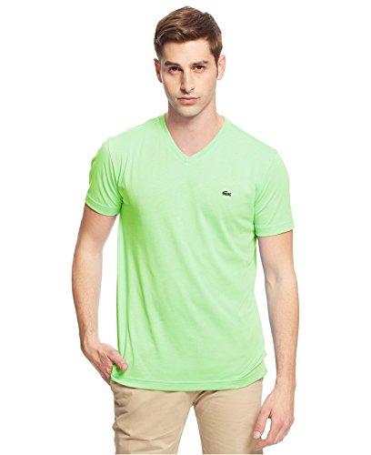 UPC 888464420103, New Lacoste Men's Short Sleeve Jersey Pima V-Neck Tee Shirt (L, Marzipan)