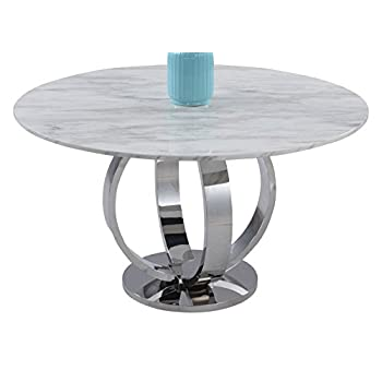 Milan NUBIA-DT Nubia Jazz White Marble Pedestal Dining Table