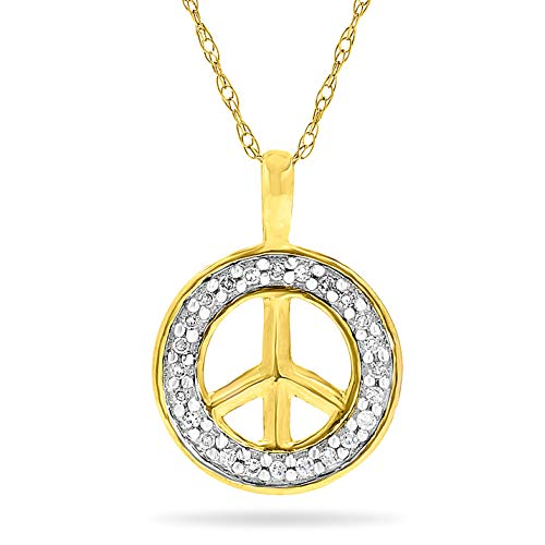 10k Yellow Gold Diamond Peace Sign Pendant, Birthstone of April,with 18