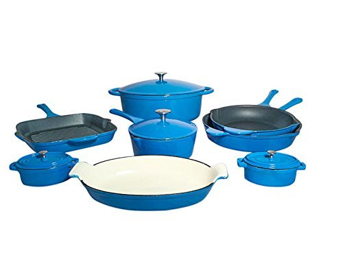 Le Chef 12-Piece All Enamel Cast Iron France Blue Cookware Set