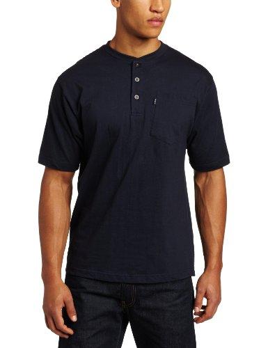 Key Apparel Men's Big-Tall Short Sleeve Heavyweight 3-Button Pocket Henley, Navy, 4X-Large-Regular