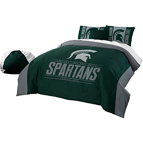 NCAA Michigan State Spartans Modern Take Two Sham Set, Green, Full/Queen Size (Michigan Bedroom Set)