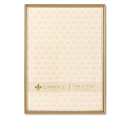 Lawrence Frames 5x7 Simply Gold Metal Picture Frame - Contemporary gold metal frame that will compliment any decor High Quality black velvet backing Vertical or horizontal tabletop display or can be hung on a wall with installed hangers - picture-frames, bedroom-decor, bedroom - 411XUjasQnL. SS400  -