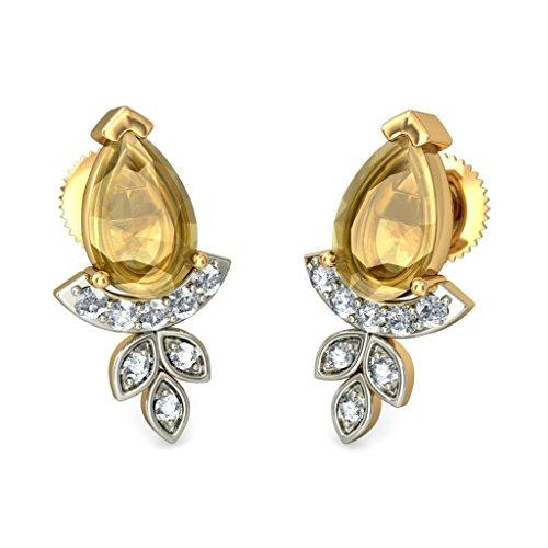 Or jaune 18K 0.11CT TW White-diamond (IJ   SI) et citrine Boucles d'oreille à tige