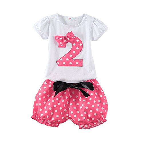 Mud Kingdom Toddler Girls Birthday Outfits I Am 2 Years Clothes Short Sets Pink 24M