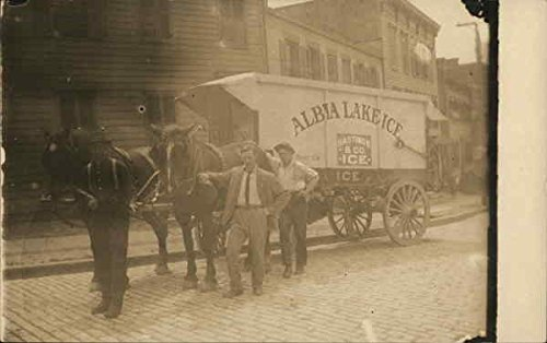 Albia Lake Ice Truck Horse Drawn Original Vintage Postcard