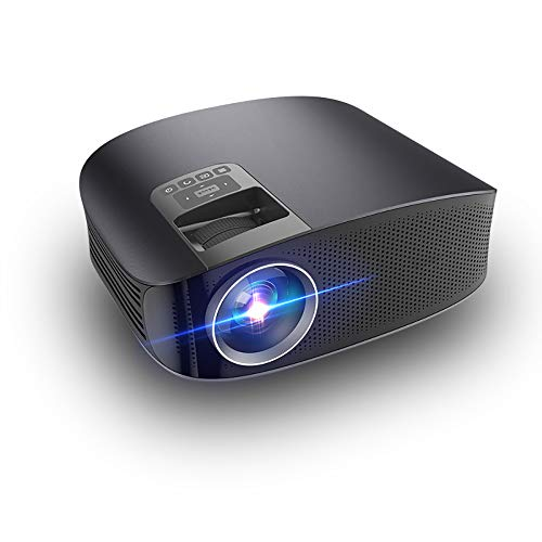 (Mini Projector, 1080P Full HD LED Film Projector, 1280×800 reso, Suitable for Office, Home Theater Projector, can Link Mobile Phone Laptop)