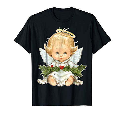 Cute Christmas Baby Angel and Holly Standard T Shirts
