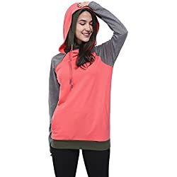Fancyqube Women's Long Sleeve Side Pockets Hoodie Oblique Zipper Double Hooded Sweatshirt Hot Pink XL