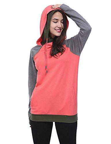 Fancyqube Women's Long Sleeve Side Pockets Hoodie Oblique Zipper Double Hooded Sweatshirt Hot Pink XL