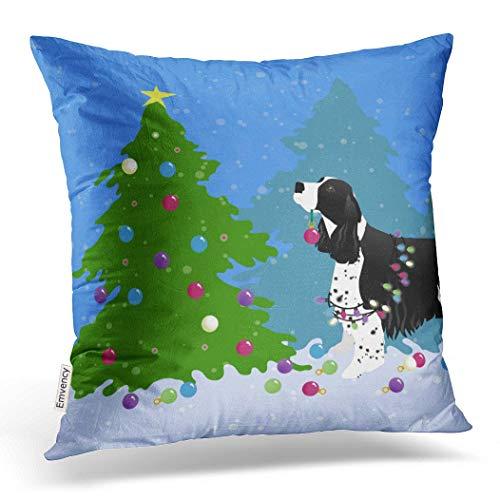 Emvency Throw Pillow Case Dec Christmassy Black Springer Spaniel Decorating Christmas Tree Throw Pillow Case Cushion Cover Case Pillowcases Square 18x18 - Spaniel Pillow Springer