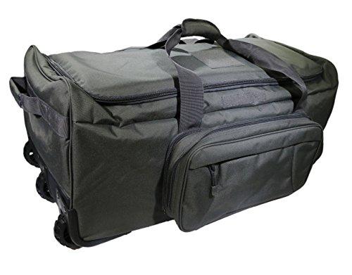 Military Tactical Wheeled Deployment Trolley Duffel Bag Heavy-Duty Camping Hiking Running Trekking (08360A Grey) Gray Bottom Rail